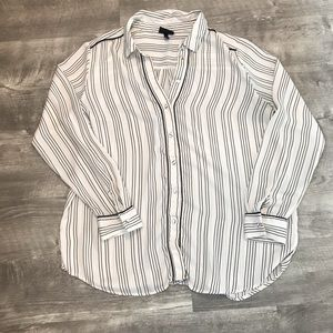 Women's Black and White Striped Button-Up Blouse